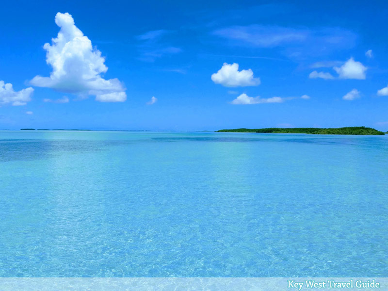 Spectacular photo of a shallow, sand-bottom flat among the out-islands of the Key West backcountry.