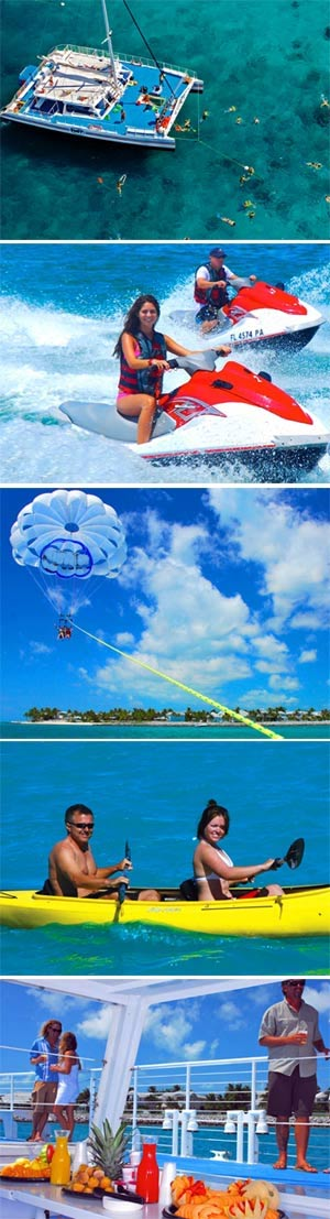 Gallery of activities available on the Key West watersports package, including jet skis, parasailing, and snorkeling