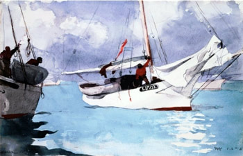 """Winslow Homer's painting """"Fishing Boats, Key West"""""""