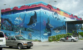 Large mural painted by famous marine-life artists Wyland and Guy Harvey