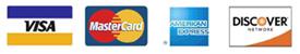 Visa, Mastercard, American Express, and Discover card logos