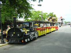 Conch Tour train awaiting departure on Front Street in Key West