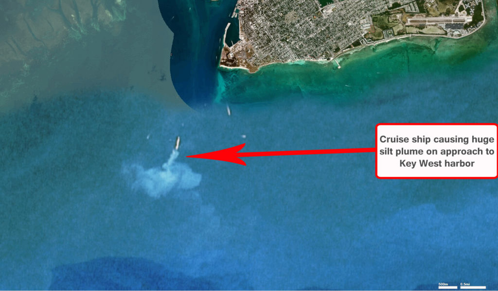 Key West cruise ship causing massive silt plume on approach to Key West harbor