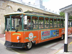 The distinctive orange and green of the Old Town Trolley